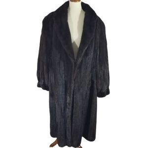 Nina Ricci Mahogany Mink long fur Duster coat xl